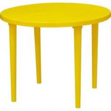 Стол пластиковый круглый ф-90 см желтый