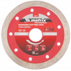 Диск алмазный MATRIX 730777 Сплошной тонкий 115х22,2 мокрый рез